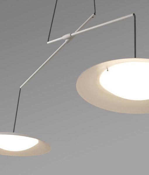 Lámpara extensible doble tulipa blanca SLIM LED detalle