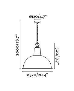 Medidas lámparas colgante retro verde LOU