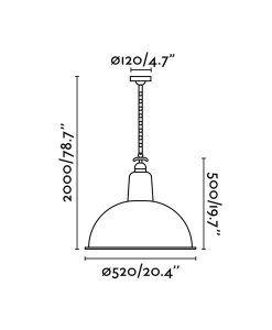 Medidas lámparas de techo retro negra LOU