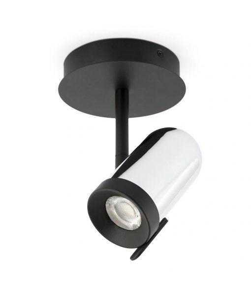 Plafón cromo y negro 1 luz ORLEANS