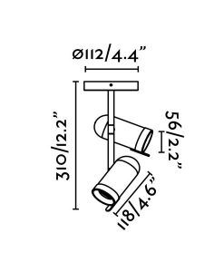 Medidas plafón foco cromo 2 luces ORLEANS
