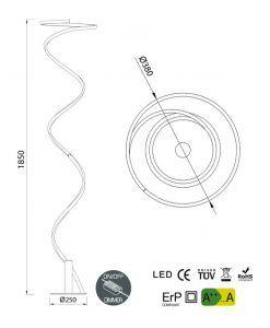 Medidas pie de salón minimalista HELIX LED
