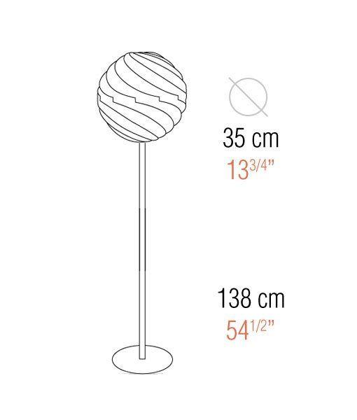 Medidas lámpara de pie 138 cm de altura TWISTER