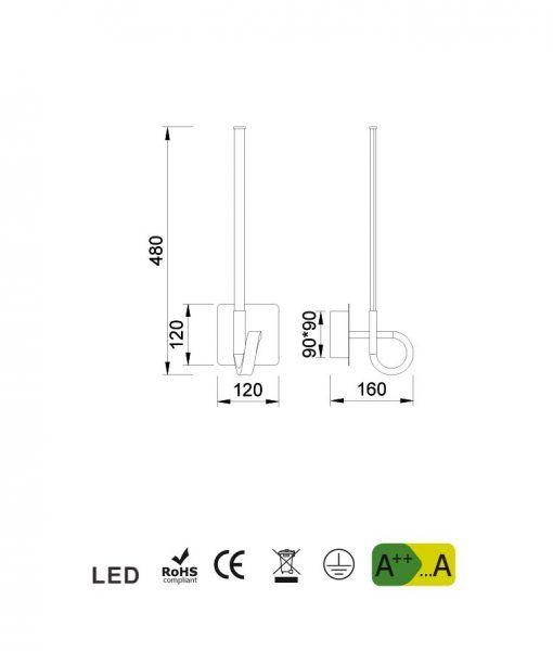 Medidas aplique cromo CINTO LED