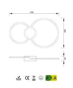 Medidas aplique de pared círculos MURAL LED
