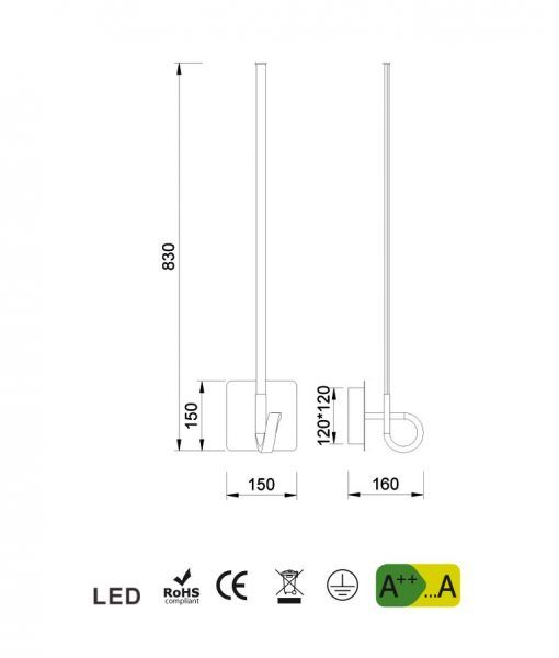 Medidas aplique de pared cromo CINTO LED