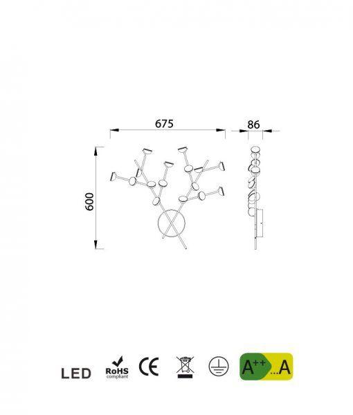 Medidas aplique de salón blanco ADN LED