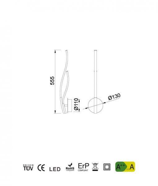 Medidas aplique diseño plata cromo CORINTO LED