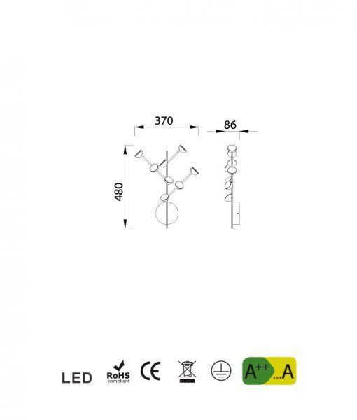 Medidas aplique dormitorio blanco ADN LED