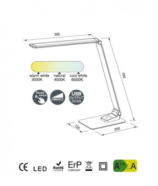 Medidas Flexo escritorio moderno HIGH SCHOOL LED
