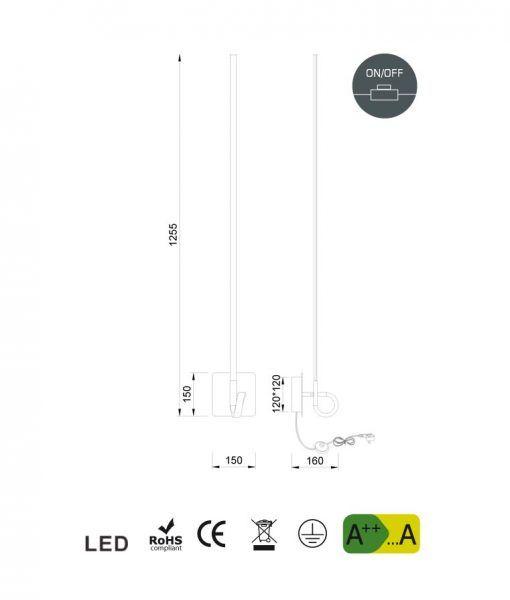 Medidas lámpara aplique cromo CINTO LED