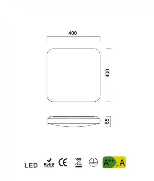 Medidas lámpara blanca iluminación cálida QUATRO II LED 40 cm