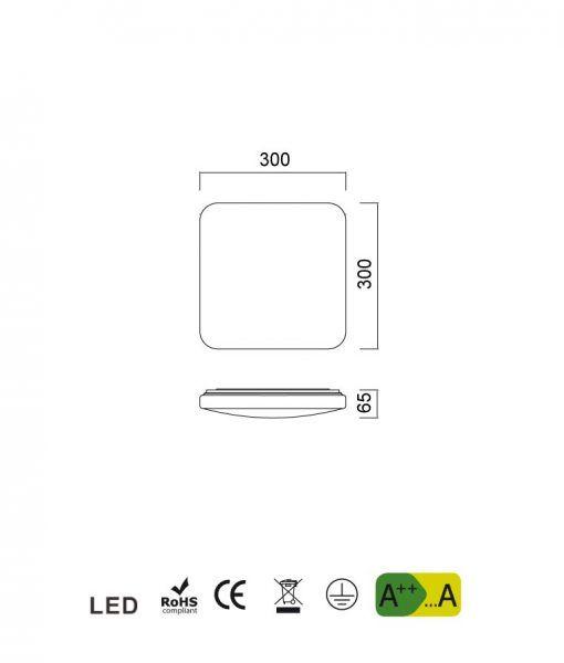 Medidas lámpara cocina blanca luz cálida QUATRO II LED 30 cm