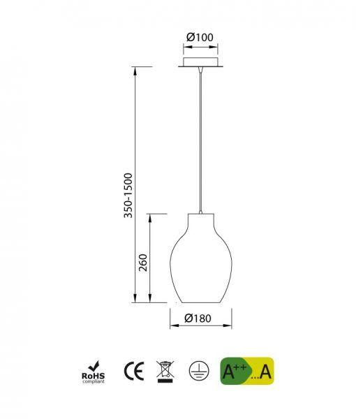 Medidas lámpara colgante cromo ANFORA