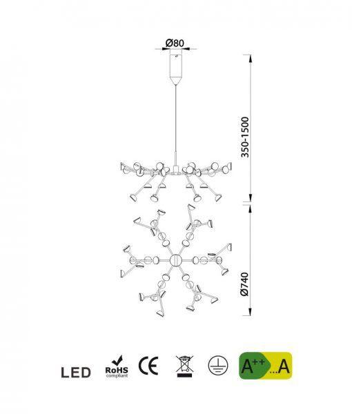 Medidas lámpara colgante blanca ADN LED