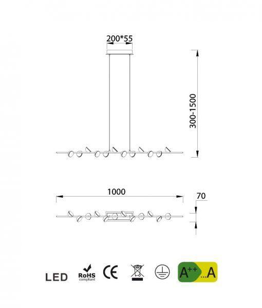 Medidas lámpara colgante lineal blanca ADN LED