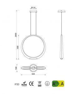 Medidas lámpara colgante plata RING LED