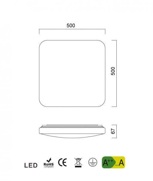 Medidas lámpara con luz neutra QUATRO II LED 50 cm