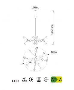 Medidas lámpara de comedor blanca ADN LED
