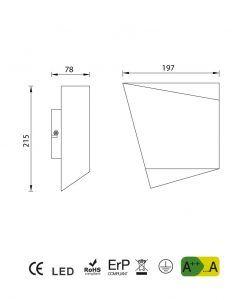 Medidas lámpara de dormitorio blanca ASIMETRIC ambiente