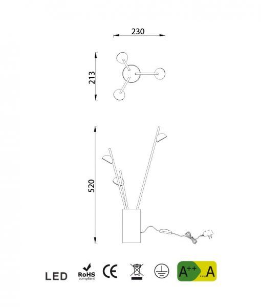 Medidas lámpara de mesa blanca ADN LED
