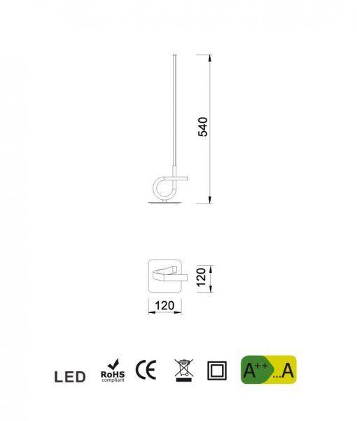 Medidas lámpara de mesa cromo CINTO LED