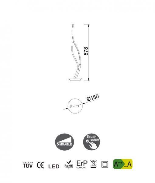 Medidas lámpara de mesa de diseño dimable plata cromo CORINTO LED