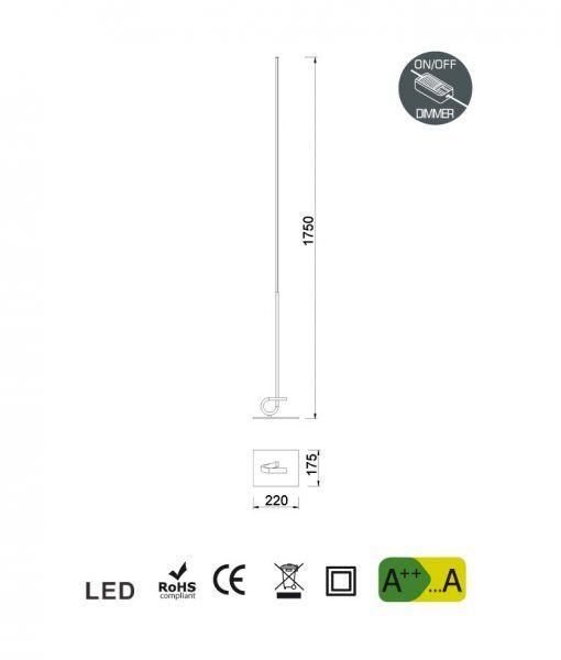 Medidas lámpara de salón cuero satinado CINTO LED dimmable