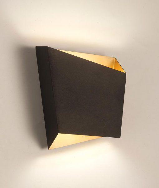 Lámpara de salón negra oro ASIMETRIC detalle luz