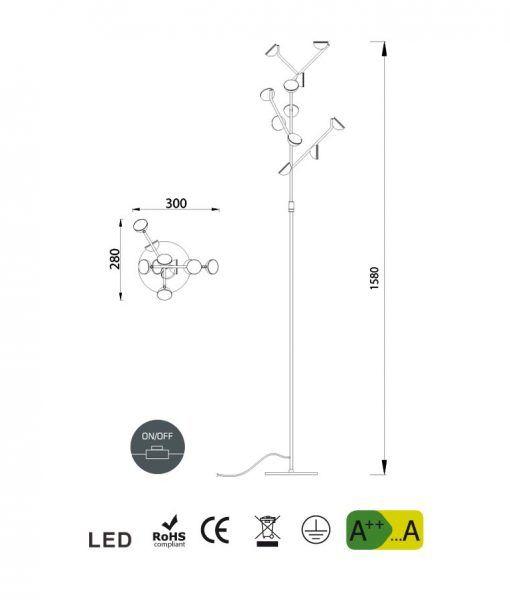Medidas lámpara de salón pie blanco ADN LED