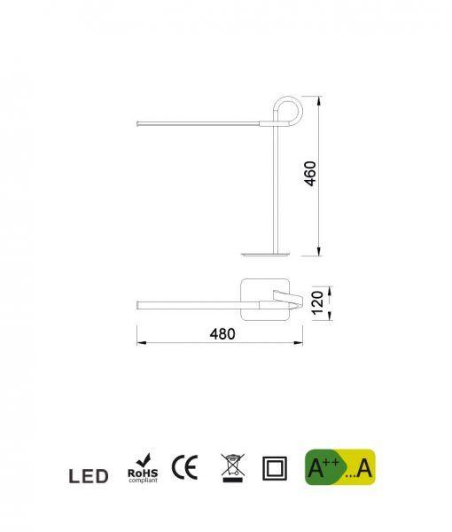 Medidas lámpara de sobremesa cromo CINTO LED