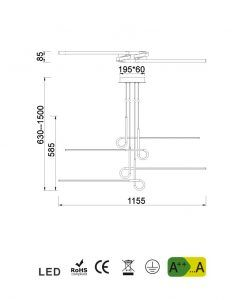 Medidas lámpara de techo 4 brazos cromo CINTO LED