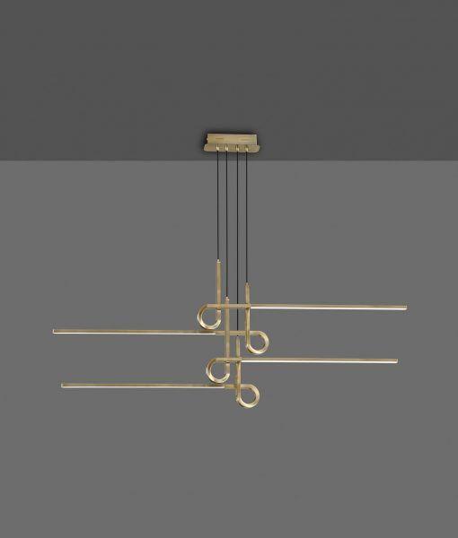Lámpara de techo 4 brazos cuero satinado CINTO LED