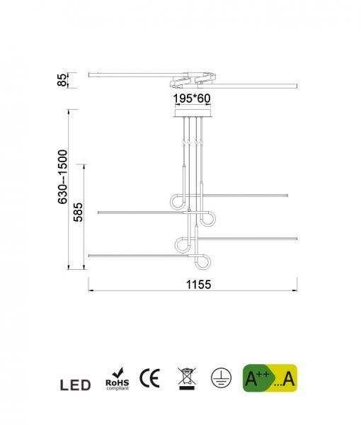 Medidas lámpara de techo 4 brazos cuero satinado CINTO LED