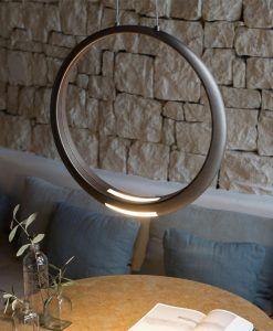 Lámpara de techo bronce RING LED ambiente