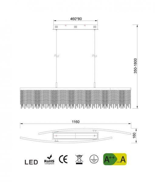 Medidas lámpara de techo lineal CINNA LED