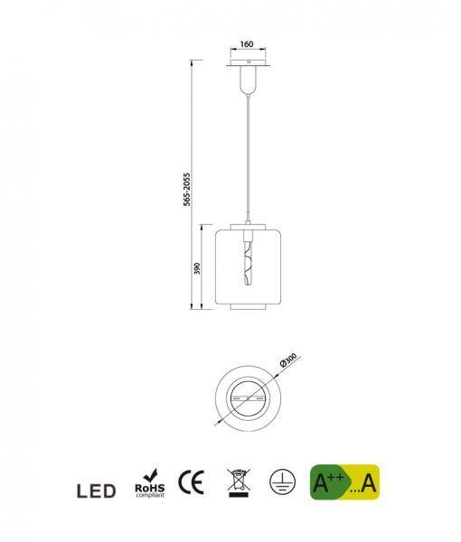 Medidas lámpara de techo mediana cromo JARRAS
