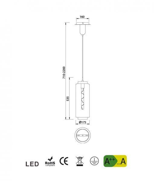 Medidas lámpara de techo pequeña cromo JARRAS