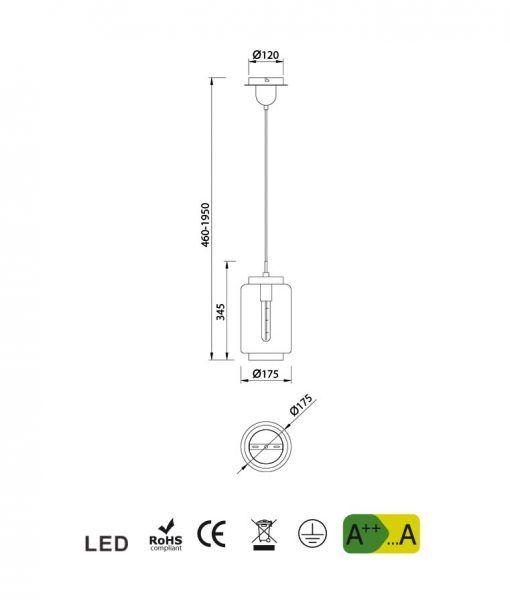 Medidas lámpara de techo tamaño XS cromo JARRAS