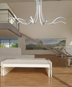 Lámpara grande dimmable LED plata cromo CORINTO ambiente