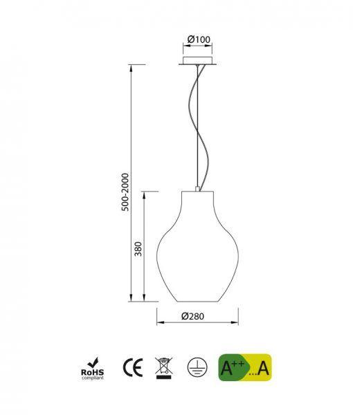 Medidas lámpara ideal comedor blanca ANFORA
