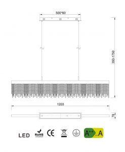 Medidas lámpara lineal de comedor CINNA LED