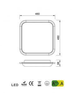 Medidas luminaria de cocina blanca FASE LED
