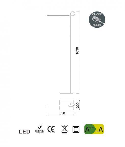 Medidas pie de salón cromo CINTO LED dimable