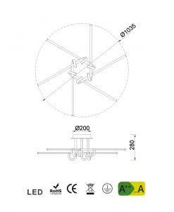 Medidas plafón 6 brazos cromo CINTO LED