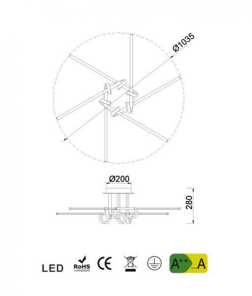 Medidas plafón 6 brazos cuero satinado CINTO LED