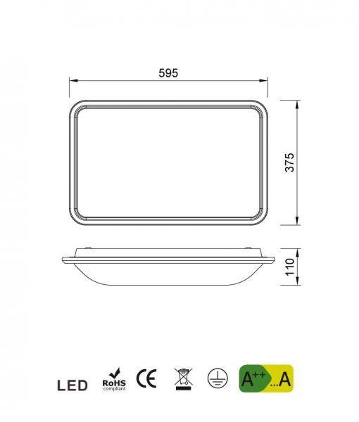 Medidas plafón de cocina blanco FASE LED