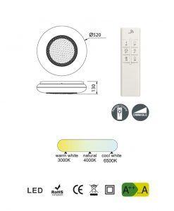 Medidas plafón con mando a distancia elegante OPERA LED