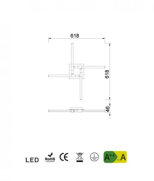 Medidas plafón cuero satinado CINTO LED