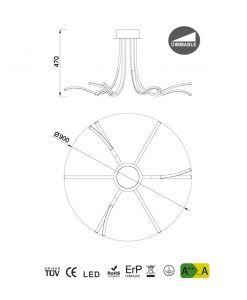 Medidas plafón dimmable plata cromo CORINTO LED